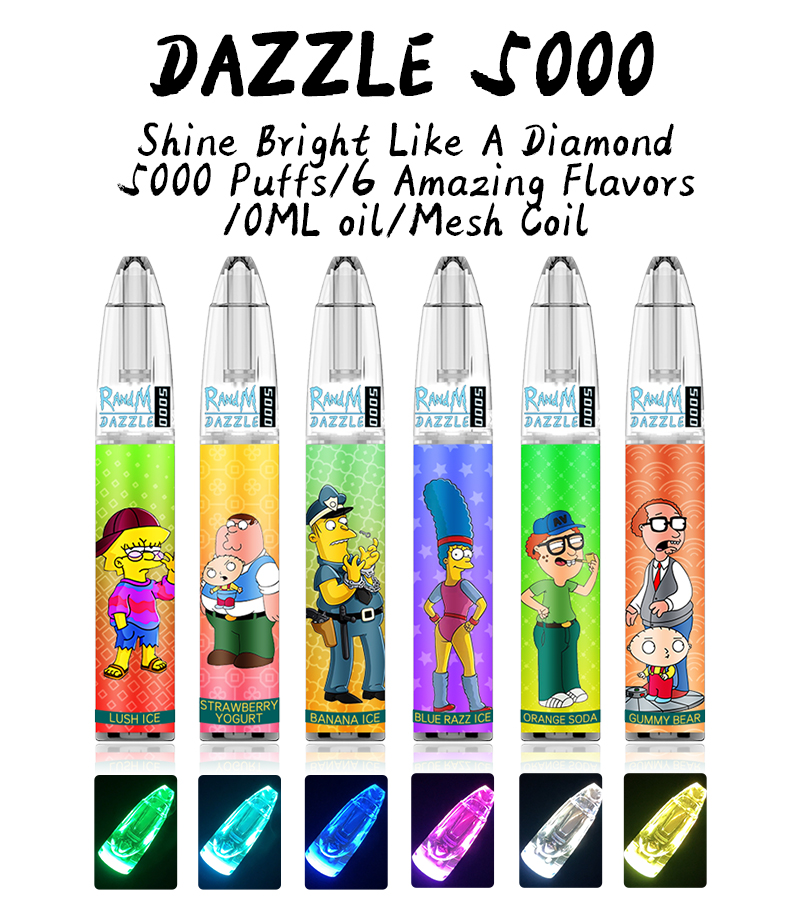 RandM Dazzle 5000 RGB Light Glowing Disposable Vape Pod Device  6 Flavor (In Stock)